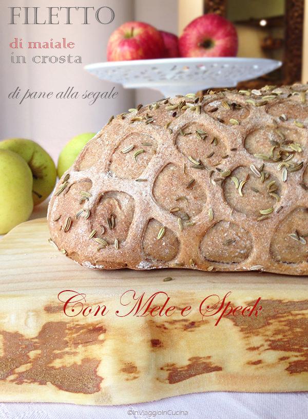 Filetto di maiale in crosta di pane alla segale con mele, speck e salsa al sidro
