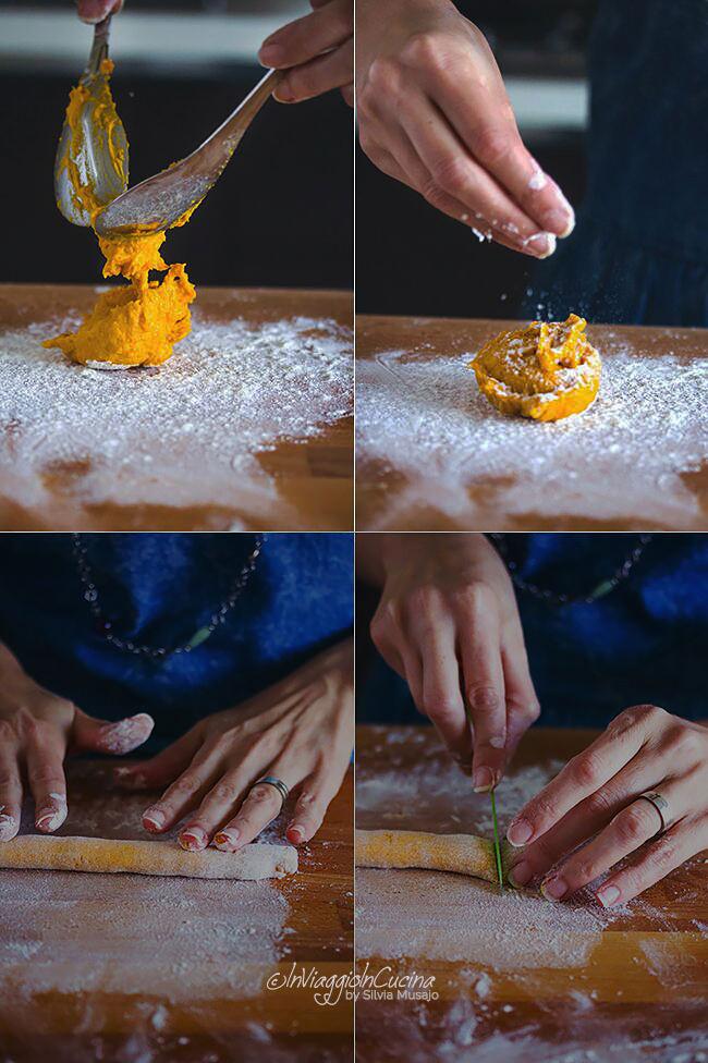 Lavorazione degli gnocchi di zucca