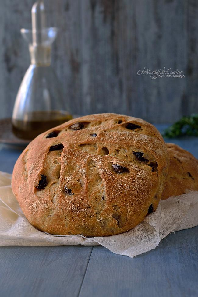 Forma di pane di grano duro con olive e timo