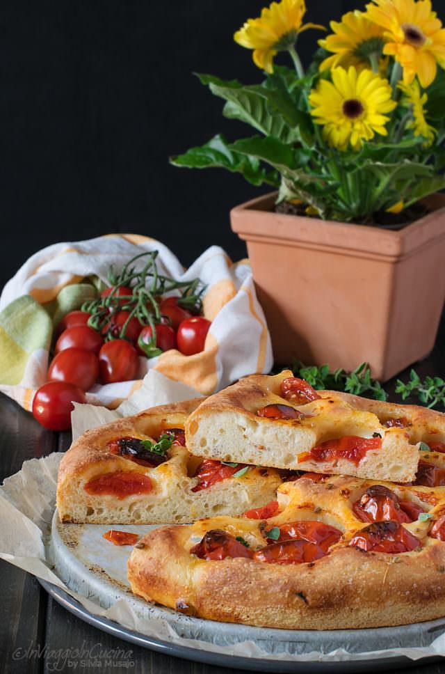 Apulian or Bari focaccia sliced
