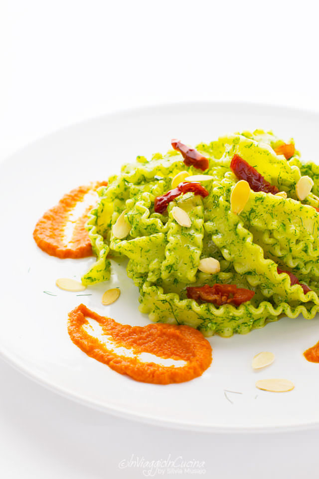 Reginette pasta with wild fennel pesto and dried tomatoes