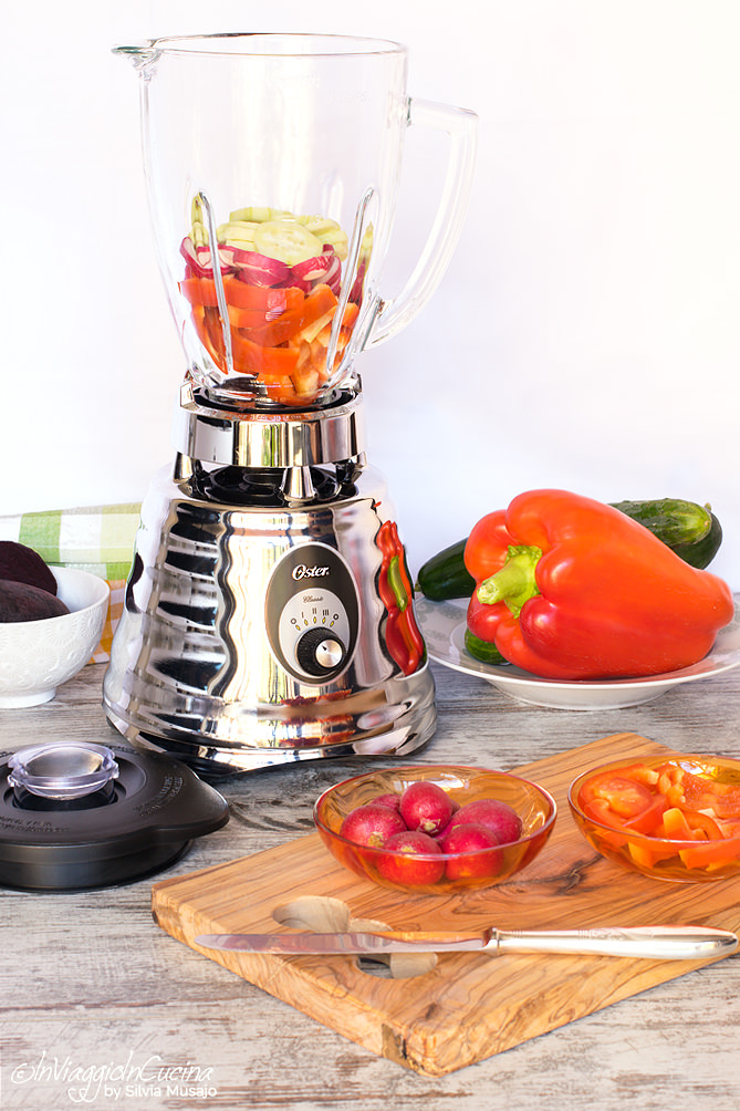 making gazpacho with blender oster