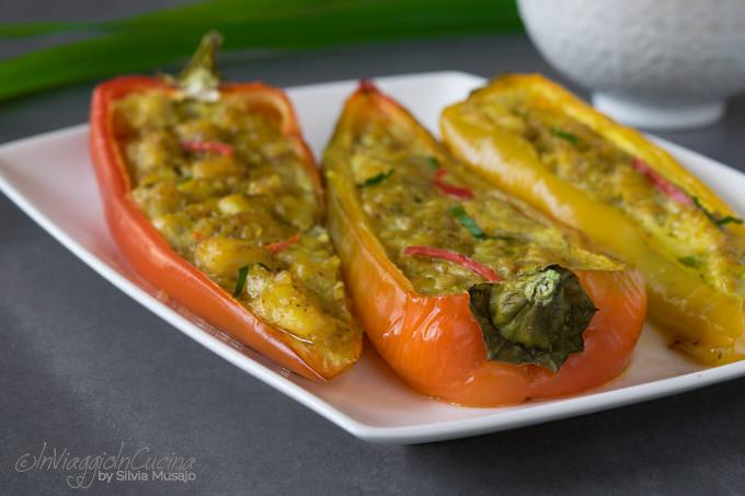 Peperoni ripieni di merluzzo al curry