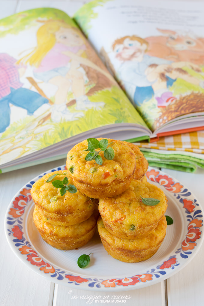 Savory polenta muffins with book