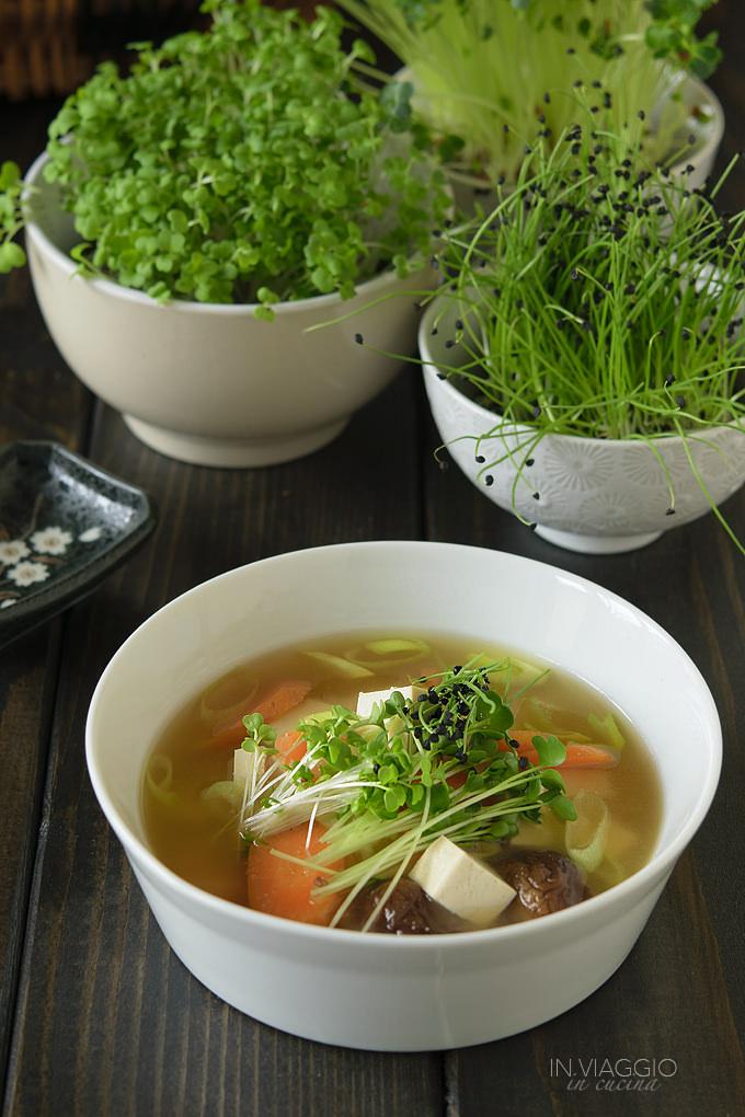Zuppa di miso con funghi, tofu e germogli