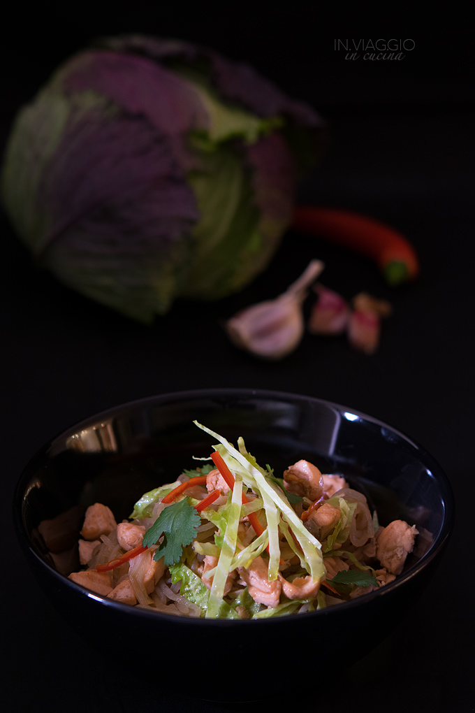 Shirataki noodles with salmon, Savoy cabbage and chilli pepper
