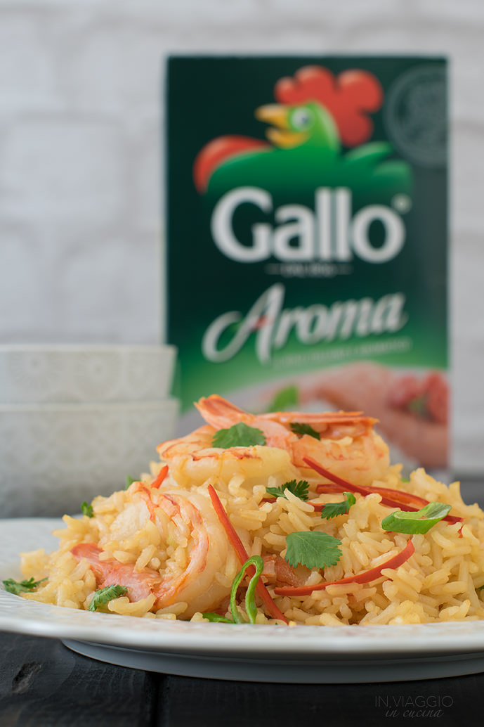 Rice Aroma Gallo with prawns