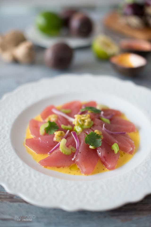 Ceviche di tonno con frutto della passione