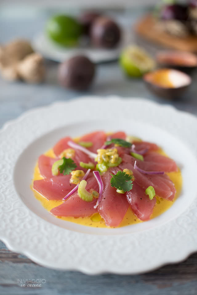 Tuna chebiche with passion fruit