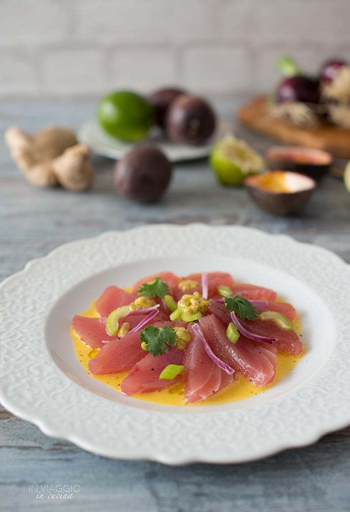 Tuna cebiche with maracuja