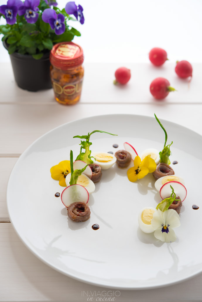 Composed salad with edible flowers