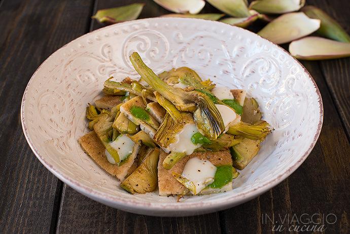 testaroli and artichokes