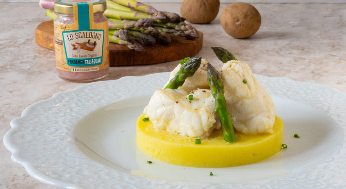 monkfish with asparagus and light mashed potatoes
