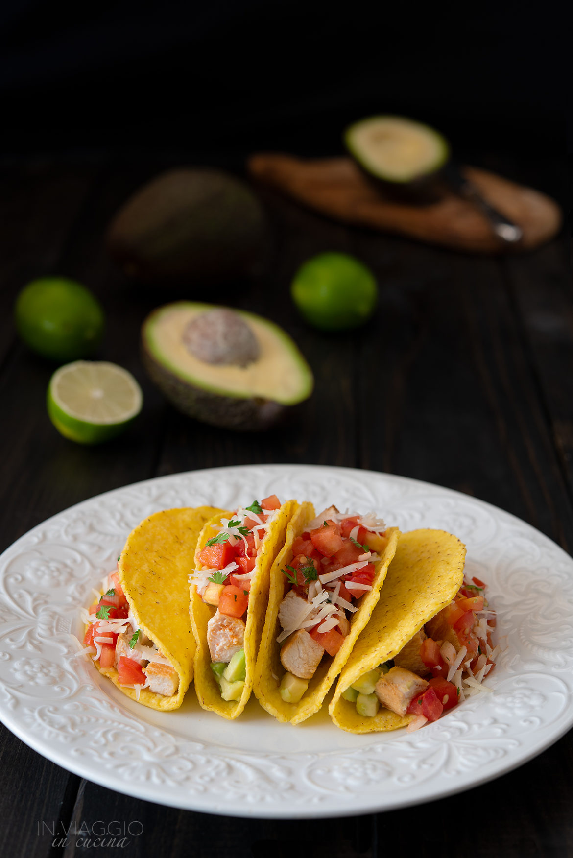 tacos with chicken, avocado and pico de gallo