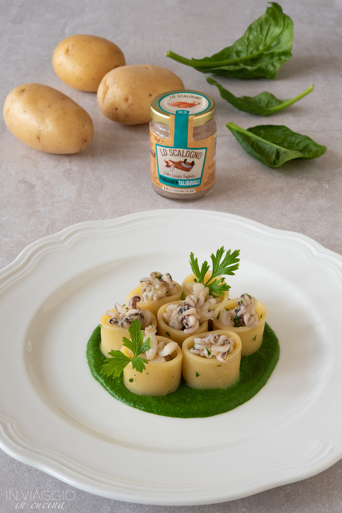 pasta with cuttlefish and spinach cream