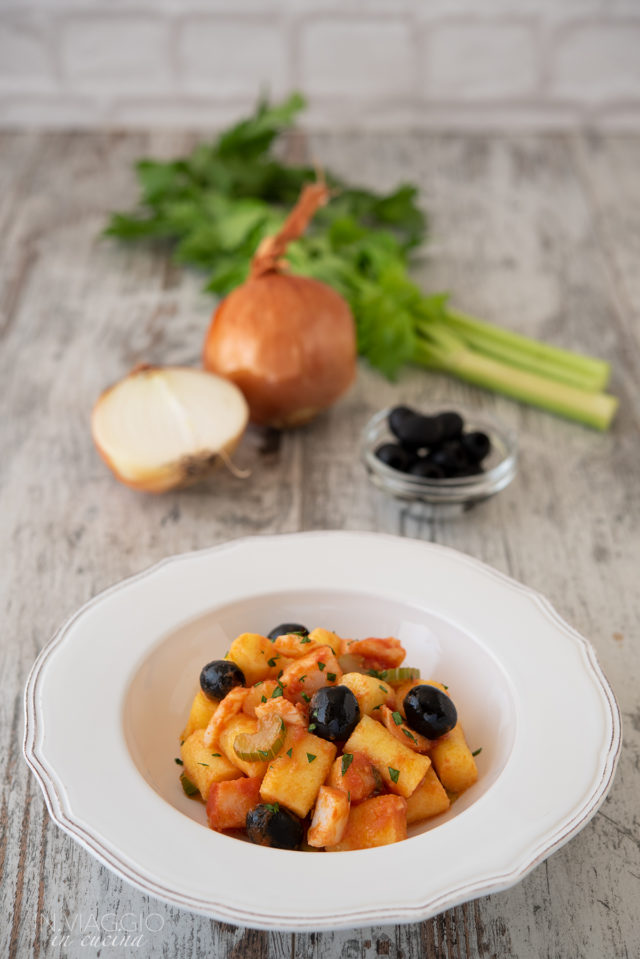 polenta gnocchi with codfish and olives