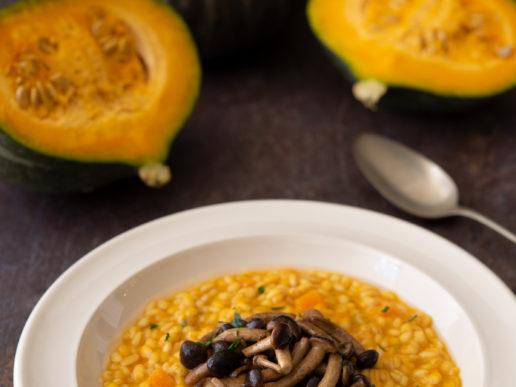 Barley risotto with pumpkin and black poplar mushrooms