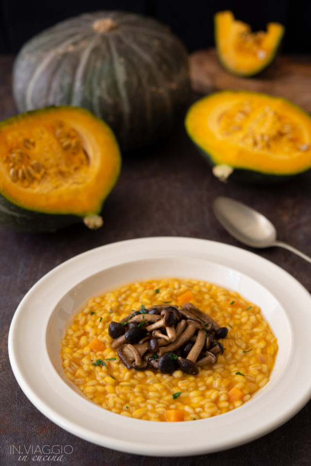 Barley risotto with pumpkin and black poplar mushrooms