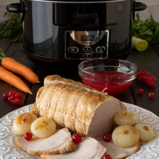 Slow-cooked pork roast with red currant sauce