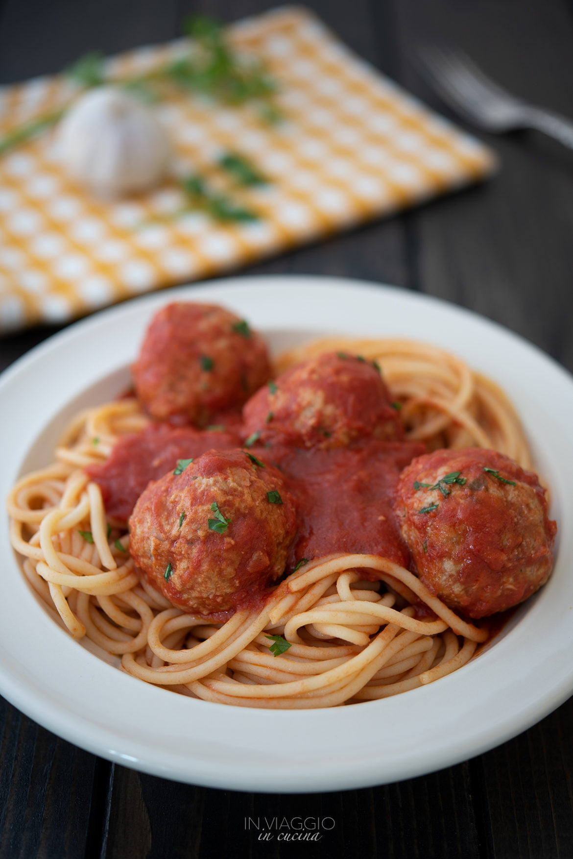 pasta with non-fried meatballs in tomato sauce